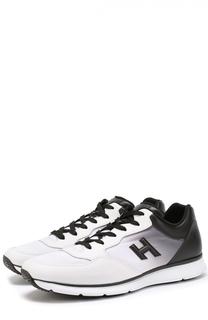 Кожаные кроссовки на шнуровке с эффектом деграде Hogan