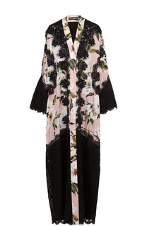 Шелковая абайя с цветочным принтом и контрастной кружевной отделкой Dolce & Gabbana