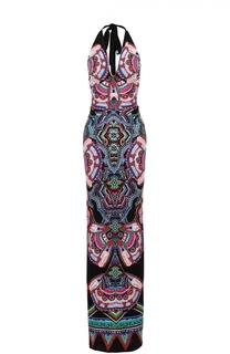 Платье-макси с открытой спиной и контрастным принтом Roberto Cavalli