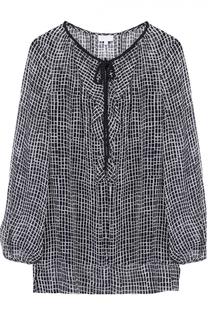 Шелковая блуза прямого кроя с оборками Escada Sport
