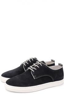 Замшевые кеды с контрастной шнуровкой Giorgio Armani