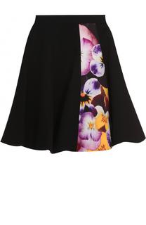 Расклешенная мини-юбка с цветочной вставкой Christopher Kane