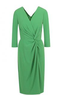 Платье-миди с драпировкой и укороченным рукавом Escada