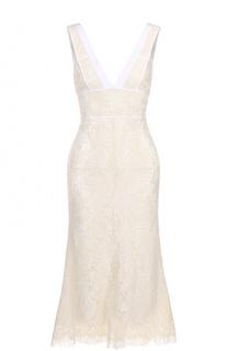 Приталенное кружевное платье с V-образным вырезом Victoria Beckham