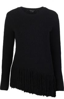 Шерстяной пуловер с асимметричным низом и бахромой Theory