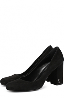 Замшевые туфли Babies на устойчивом каблуке Saint Laurent