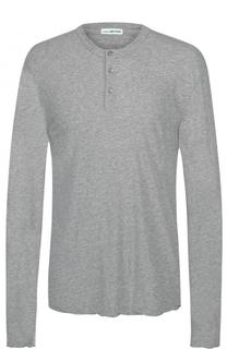 Хлопковая футболка хенли свободного кроя с длинными рукавами James Perse