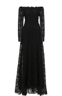 Кружевное платье-макси с открытыми плечами и длинными рукавами Valentino