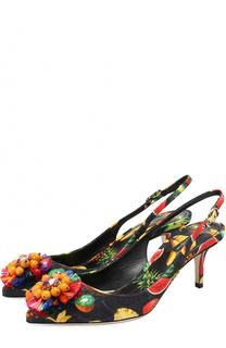 Туфли Bellucci из текстиля с брошью Dolce & Gabbana