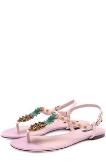 Замшевые сандалии с аппликацией и заклепками Dolce & Gabbana