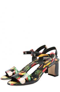Комбинированные босоножки с принтом на устойчивом каблуке Dolce & Gabbana