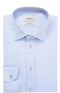 Хлопковая приталенная сорочка с воротником кент Armani Collezioni