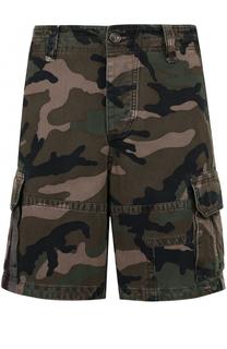 Хлопковые шорты с камуфляжным принтом Valentino
