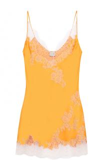 Шелковая сорочка с контрастной кружевной отделкой Carine Gilson