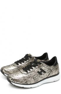 Кросcовки из металлизированной кожи на шнуровке Hogan