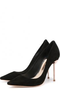 Замшевые туфли на шпильке с декором Sophia Webster