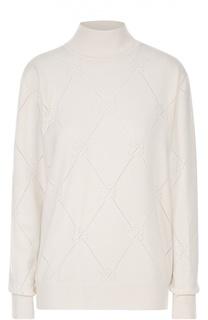 Кашемировый свитер с высоким воротником и перфорацией Blumarine