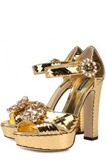 Босоножки из металлизированной кожи с кристаллами Dolce & Gabbana