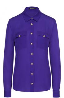 Шелковая блуза с накладными карманами и контрастными пуговицами Balmain