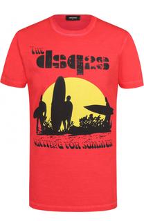 Хлопковая футболка с контрастным принтом Dsquared2