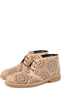 Замшевые ботинки с перфорацией Alaia