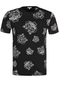 Хлопковая футболка с контрастным принтом Kenzo