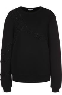 Пуловер прямого кроя с круглым вырезом и фактурной отделкой Dries Van Noten