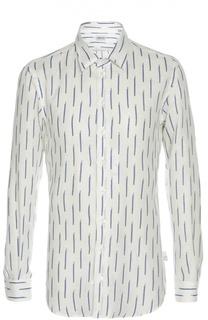 Льняная рубашка с принтом Armani Collezioni