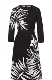 Приталенное платье с цветочным принтом и укороченным рукавом Escada