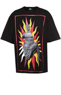 Хлопковая футболка свободного кроя с контрастным принтом Fausto Puglisi