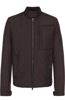 Утепленная стеганая куртка на молнии с отделкой из натуральной кожи Pal Zileri