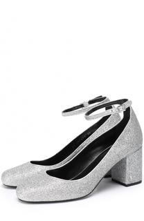 Туфли Babies из металлизированного текстиля с ремешком на щиколотке Saint Laurent