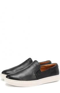 Кожаные слипоны на контрастной подошве Polo Ralph Lauren