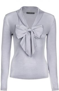 Вязаный приталенный пуловер с бантом Alexander McQueen