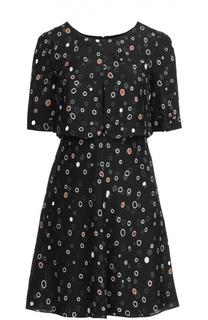 Приталенное шелковое платье с круглым вырезом Armani Collezioni