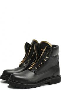 Кожаные ботинки с металлическим декором Balmain
