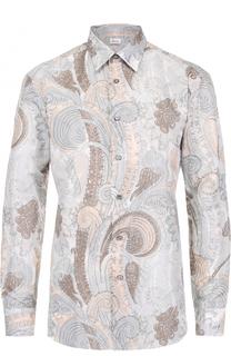 Рубашка из смеси льна и хлопка с принтом Brioni