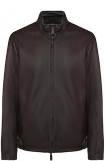 Двусторонняя кожаная куртка на молнии с воротником-стойкой Canali