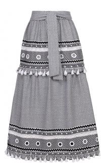 Хлопковая юбка-миди с контрастной отделкой и поясом Dodo Bar Or