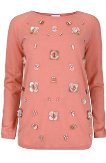 Шерстяной пуловер с круглым вырезом и пайетками Escada Sport