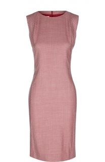 Кашемировое платье-футляр в клетку с вырезом лодочка Kiton