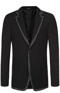 Шерстяной вечерний пиджак с контрастной отделкой Alexander McQueen