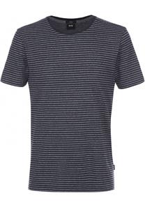 Хлопковая футболка в контрастную полоску BOSS