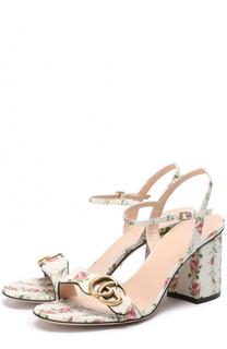Кожаные босоножки Marmont с цветочным принтом Gucci