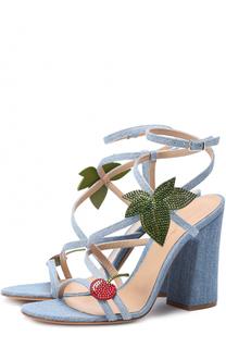 Босоножки Kaia из денима с аппликациями Gianvito Rossi