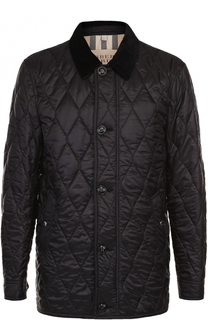 Удлиненная стеганая куртка на молнии с отложным воротником Burberry