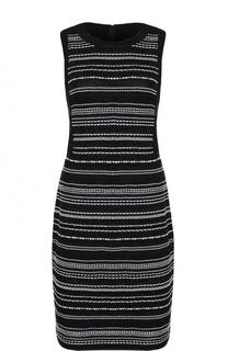 Буклированное платье без рукавов с контрастной отделкой St. John