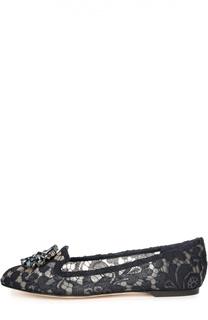 Кружевные слиперы Rainbow Lace с брошью Dolce & Gabbana