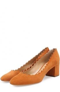 Замшевые туфли Lauren с фигурным вырезом Chloé