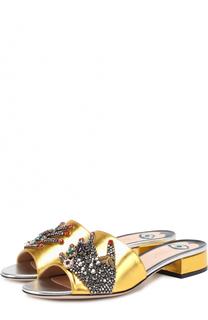 Сабо Wangy из металлизированной кожи с декором Gucci